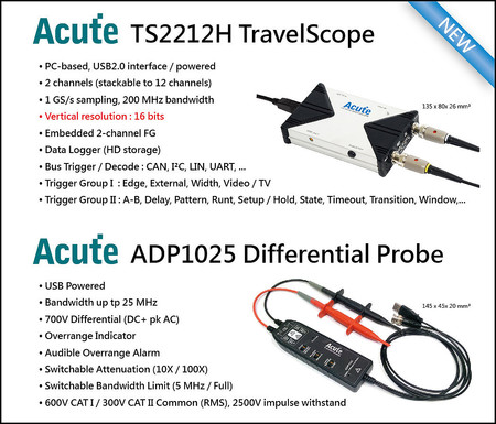 PC based Oscilloscopes with 1GS/s Realtime Sampling Rate and USB self-powered
